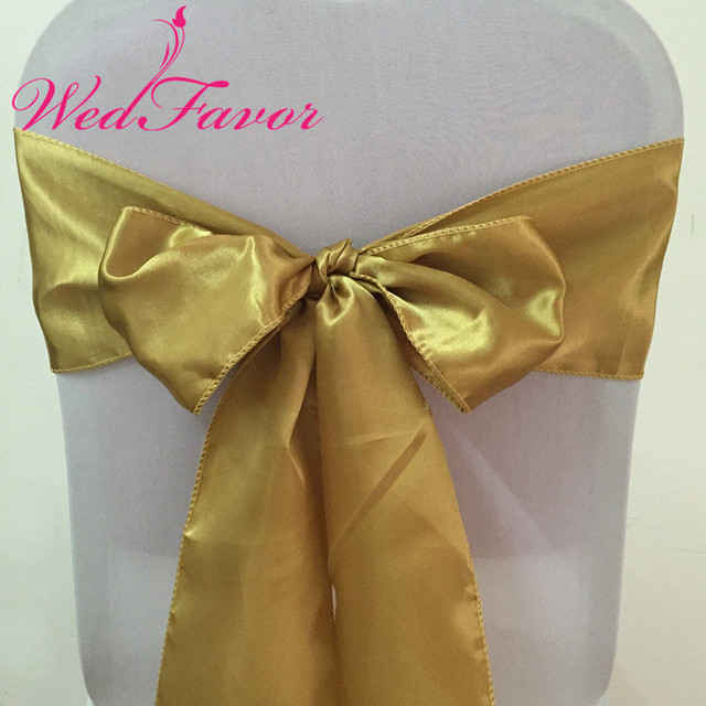 fb42555869ffe WedFavor 100pcs High Quality Antique Gold Wedding Chair Tie Satin Chair Bow  Sashes For Hotel Party Event Banquet Decoration