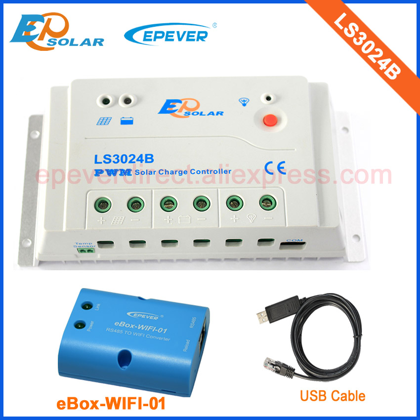 solar PWM regulator 30A LS3024B with ebox-wifi-01 funtion for mobile use and USB cable for PC use 12v/24v auto type pwm solar regulator 20a ls2024b with ebox wifi 01 funtion for mobile use and black mt50 remote meter 12v 24v auto type