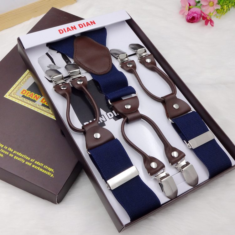 Fashion printing alloy 6 clips male vintage casual suspenders commercial western-style trousers mans braces strap