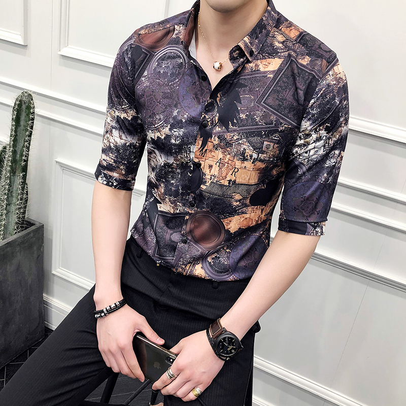 2018 Spring And Summer New Social Mens Short-sleeved Flower Shirt Slim Casual Fashion Wild Personality British Trend
