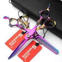 Hot selling professional personality colorful 6-inch dragon hair scissors Japan 440C steel Taiwan hand-made Fashion and sharp