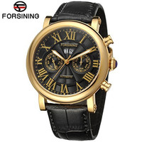 Forsining Mens Watches Top Brand Luxury Auto 6 Hands Mechanical Watch Wristwatch Genuine Leather Gift Box