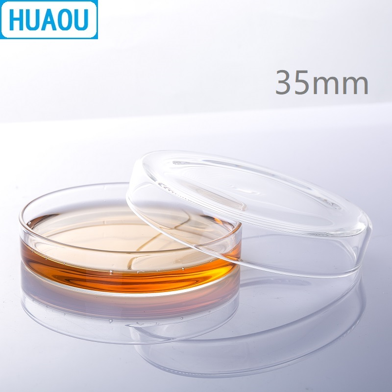 HUAOU 35mm Petri Bacterial Culture Dish Borosilicate 3.3 Glass Laboratory Chemistry Equipment