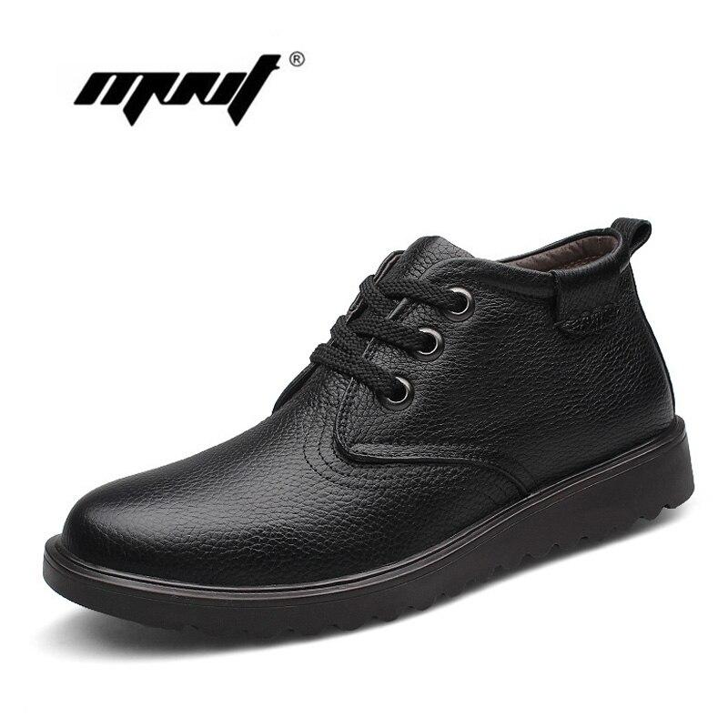 Véritable Cuir Hommes Bottes Confortable Mode Hommes D'hiver Chaussures, Top Qualité Main Plus La Taille Hommes de Neige D'hiver Bottes
