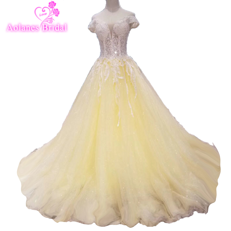 High Quality Custom Made Lace Prom Dresses Luxury 2018 Appliques Beaded Floral Light Yellow Ball Gown Women Formal Dress Evening