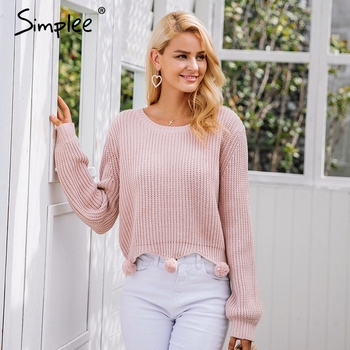 Simplee Handmade fur ball casual knitted sweater Women pullover winter streetwear female jumper 2017 Autumn knitting pull femme