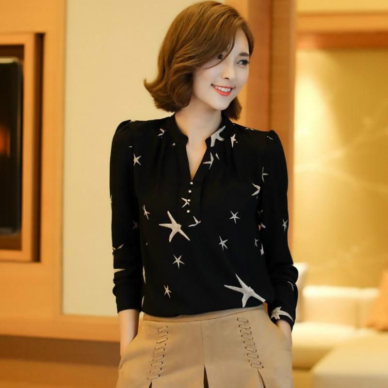 Summer 2019 Blouses Women's Tops Office Work Elegant Chiffon Shirts black Slim Blouse Casual Long Sleeve Plus Size White Shirt 8
