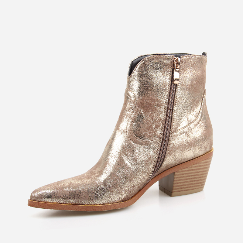 Image 3 - 2019 Spring/Autumn New Fashion Women's High heeled Retro Square heel boots Zipper Concise Pointed Toe Woman Boot Golden shoes-in Ankle Boots from Shoes
