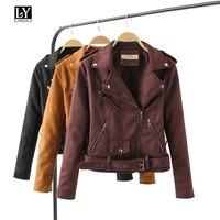 Ly Varey Lin Spring Women Soft Leather Jacket Suede Slim Turn Down Collar Motorcycle Jacket Female Rivet Zipper Bandag Outerwear