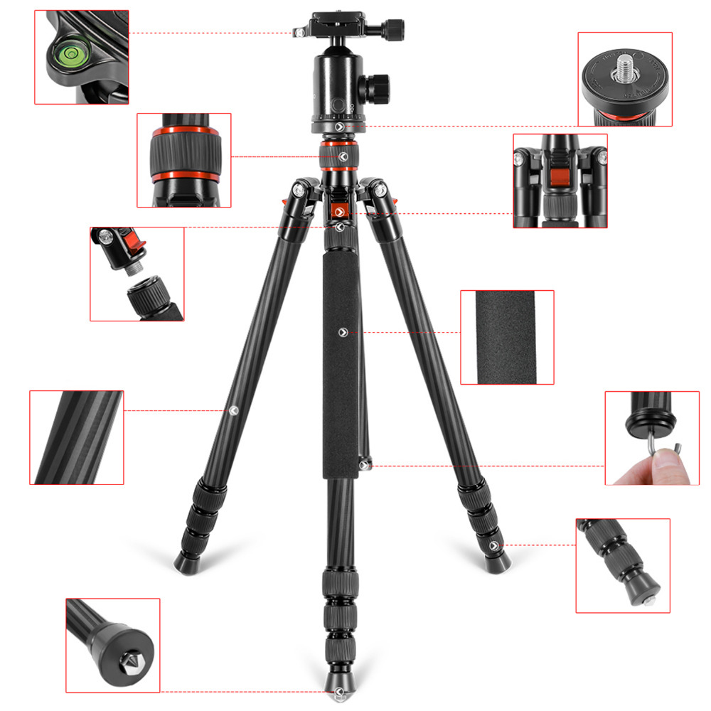 Neewer Lightweight Portable 66inch/168cm Carbon Fiber Camera Tripod Monopod with 360 Degree Ball Head and Bubble Level Golden