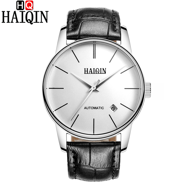 Quality HAIQIN Watches Men Top Luxury Brand Automatic Mechanical Watch Sapphire Waterproof Leather Male Wristwatches