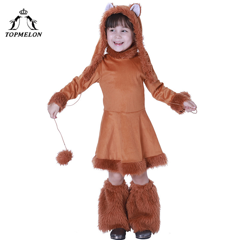 TOPMELON Full Set Costume Fox Halloween Costumes for Girls Brown Sweet One Piece Dress Long Sleeve Furry Clothing for Halloween