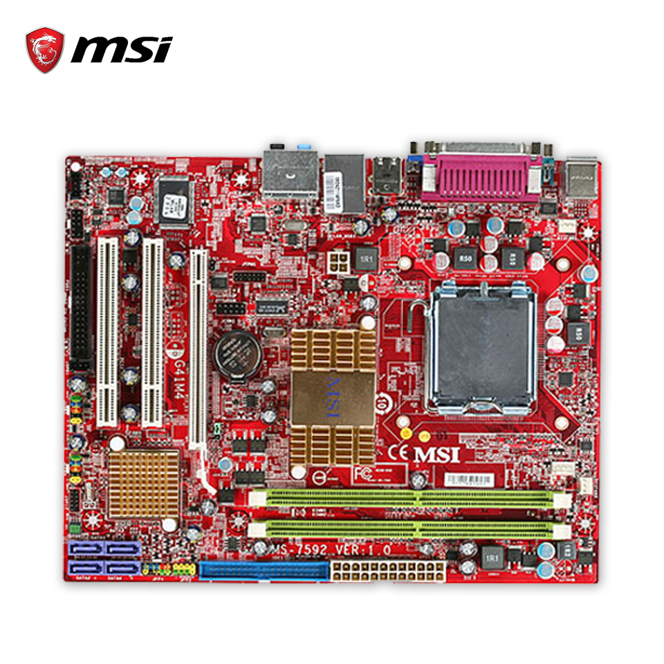 MSI G41M4-F Original Used Desktop Motherboard G41 Socket LGA 775 DDR2 8G SATA2 USB2.0 Micro-ATX summer children shoes child sports sandals female male child sandals black gauze sandals