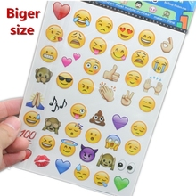 13*18cm bigger size plus 4sheets/lot  Cute Lovely Emoji Smile Stickers For Notebook Message High Vinyl Funny Creative