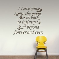 I Love You To The Moon And Back Quote Vinyl Wall Decal Nursery Kids Room Hearts