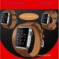 Goosuu 3 em 1 pulseira de couro genuíno cuff bracelet pulseira de faixas de relógio de couro para apple 38mm 42mm com adaptador