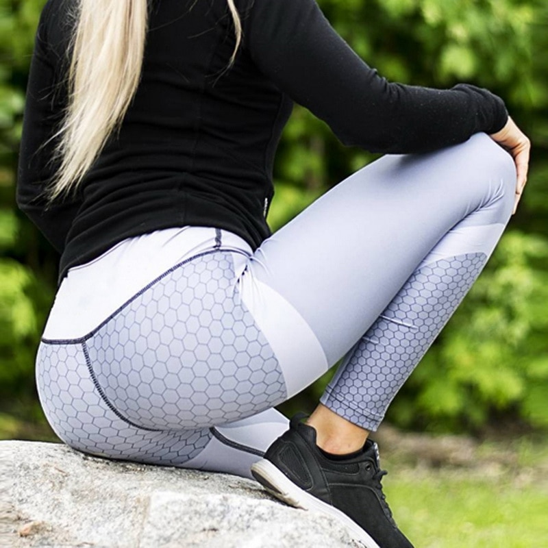 8 colors New Fitness Sport leggings Women Mesh Print High Waist Legins Femme Girls Workout Yoga Pants Push Up Elastic Slim Pants 23