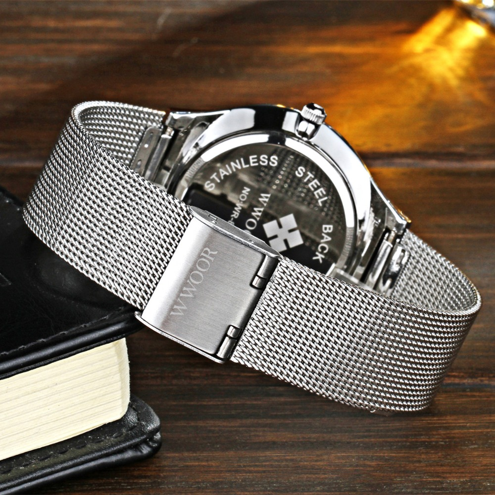 Men Luxury Watch WWOOR Brand Stainless Steel Quartz-Watches Shock Resitant Waterproof Wristwatch Fashion Business montre homme