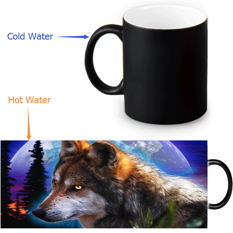 wolf mug heat reveal morphing coffee mugs heat changing color beer magic ceramic tea