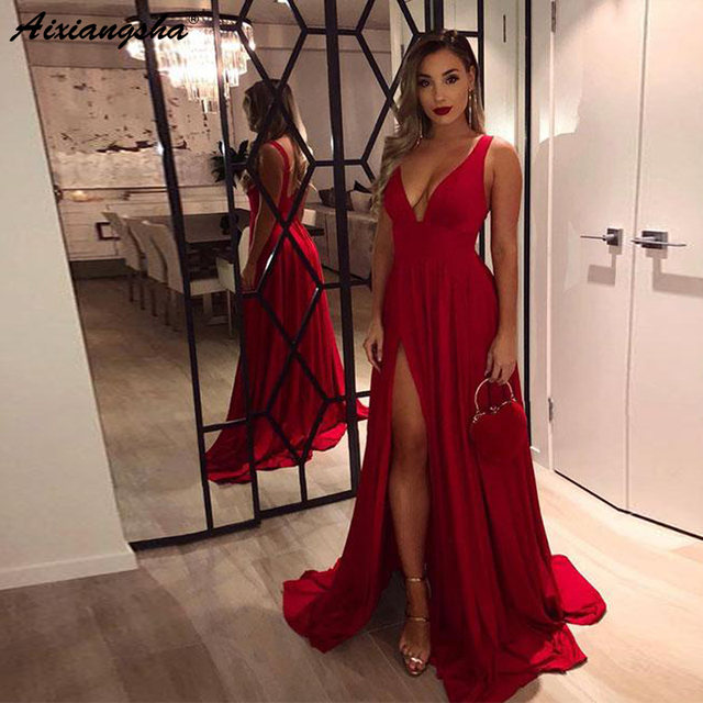 cbce6ef019 Sexy abiye gece elbisesi Evening Gowns for Women V-Neck High Side Slit  A-Line Sleeveless Simple Long Red Prom Dress