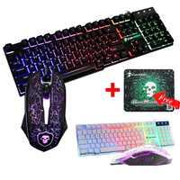 LED Rainbow Backlight USB teclado ergonómico con cable para juegos + 2400 ppp Mouse + Mouse Pad Set Kit para ordenador portátil computadora jugador