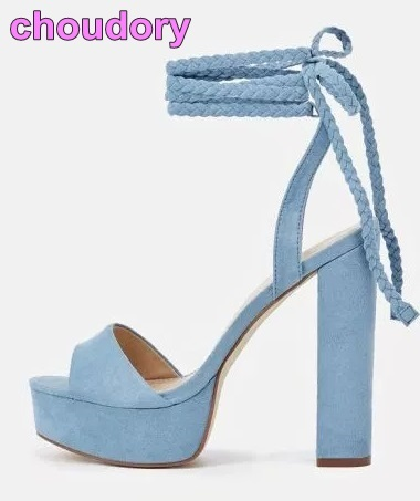 Customized Sky Blue Yellow Suede Chunky Heel Sandals Women Platform Dress  Shoes Ankle Braided Tied Up Ultra High Heel Pumps-in High Heels from Shoes  on ...
