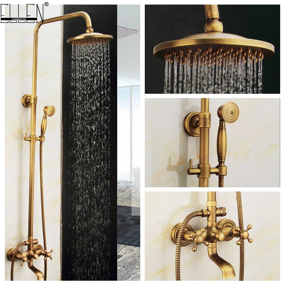 Wall Mounted Bathroom Rain Shower Set Antique Bronze Rainfall Shower with Hand Shower Brass Rain Shower