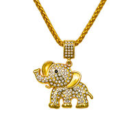 Hip Hop Pendant Crystal Necklace Bling Bling Fashion Gold Chain With Elephant Pendant