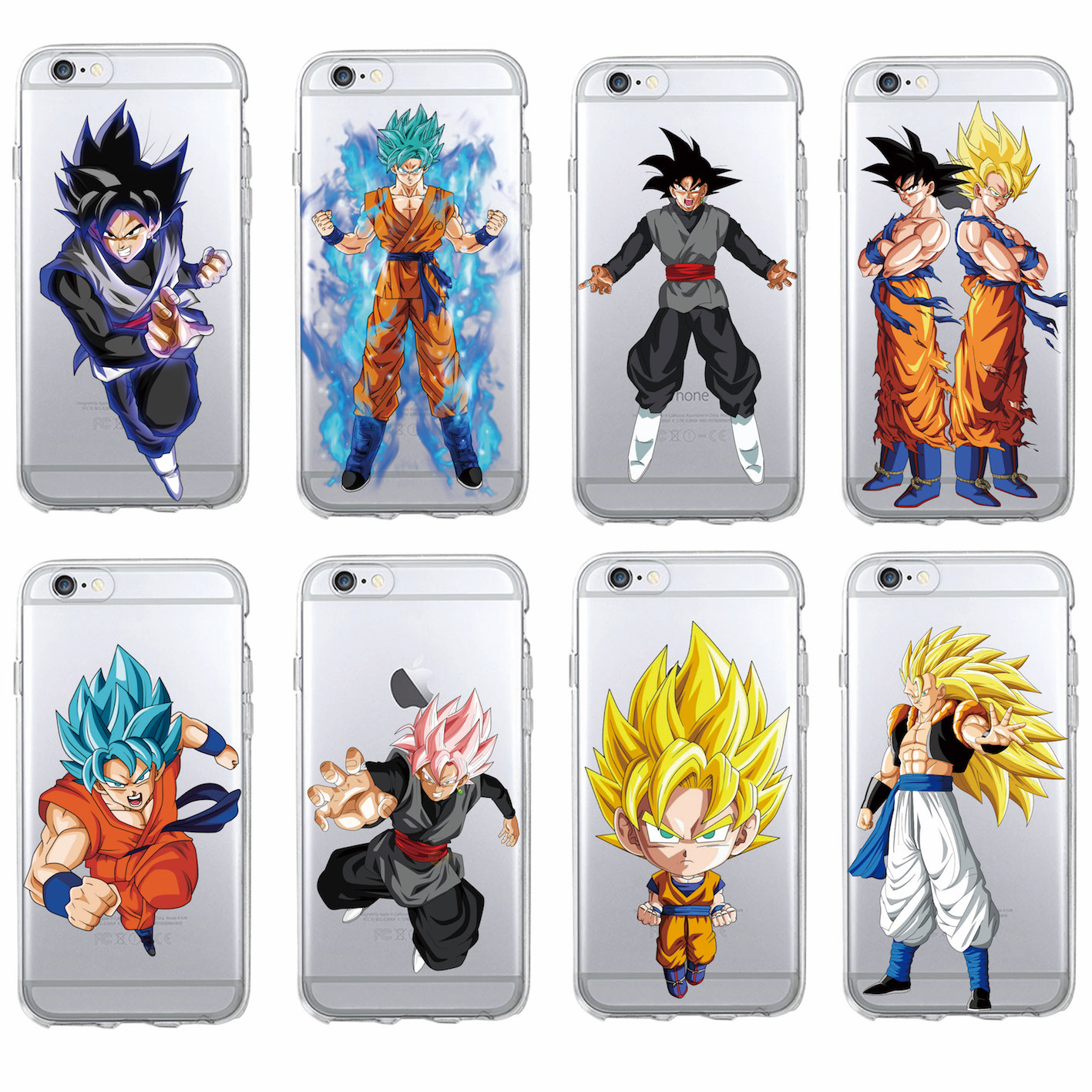 For iPhone 7 7Plus 6 6S 6Plus 5 5S 8 8Plus X  SAMSUNG Manga  Dragon Ball Saiyan Goku Vegetto Gohan Soft Phone Case Fundas Coque