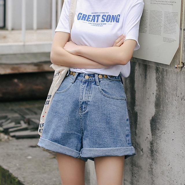 Streetwear High Waist Wide Leg Denim Shorts   2