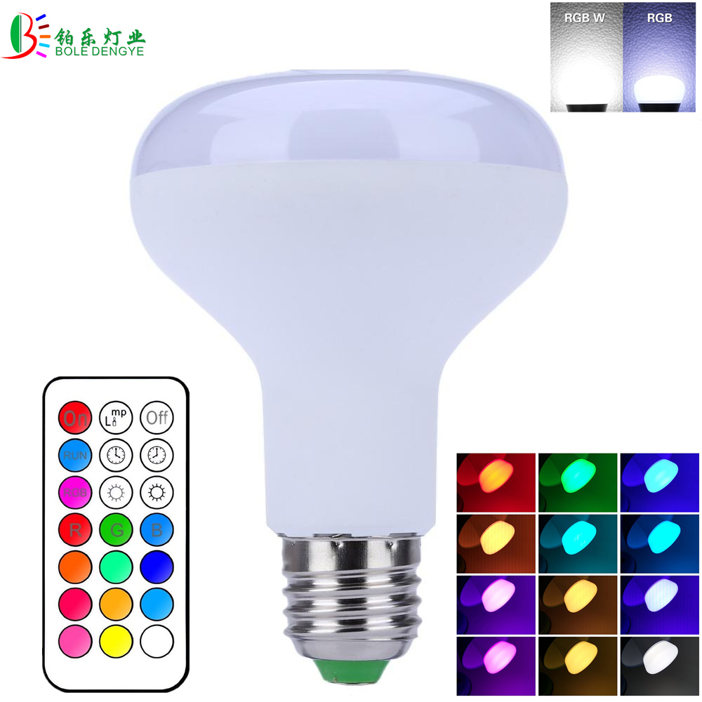 RGBW LED Bulb 10W RGB+ White Light Bulb Decor LED Lamp E27 Dimmable Lampada with Remote Control Timing Function AC85-265V e27 e14 rgb 5w 10w ac85 265v led bulb lamp with remote control multiple colour rgb led lighting