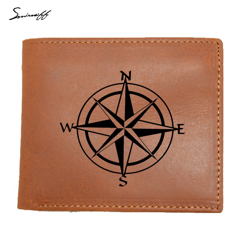 Wallet Men Leather Purse Compass Travel Wanderlust Direction NSWE Quality Brand Men Wall ...