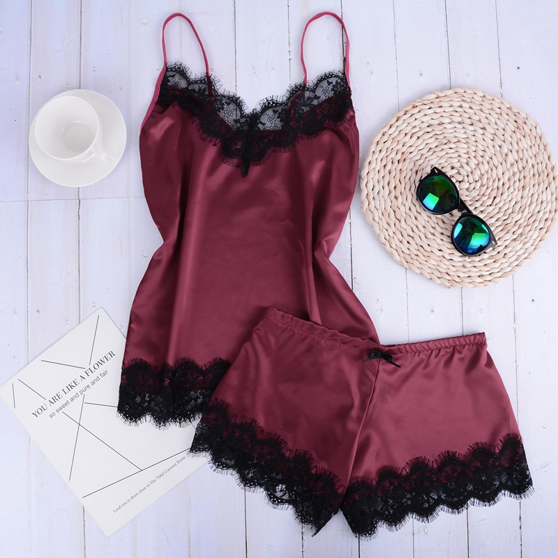 Permalink to Women's Sleepwear Sexy Satin Pajama Set Lace V-Neck Cute Top and Shorts Lingerie Low Straps Bralette Shorts Setorts Set