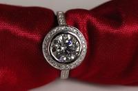 2 ct круглой огранки кольцо из стерлингового серебра 925 женский SONA камень diamant Свадебные любовник кольцо (JSA)