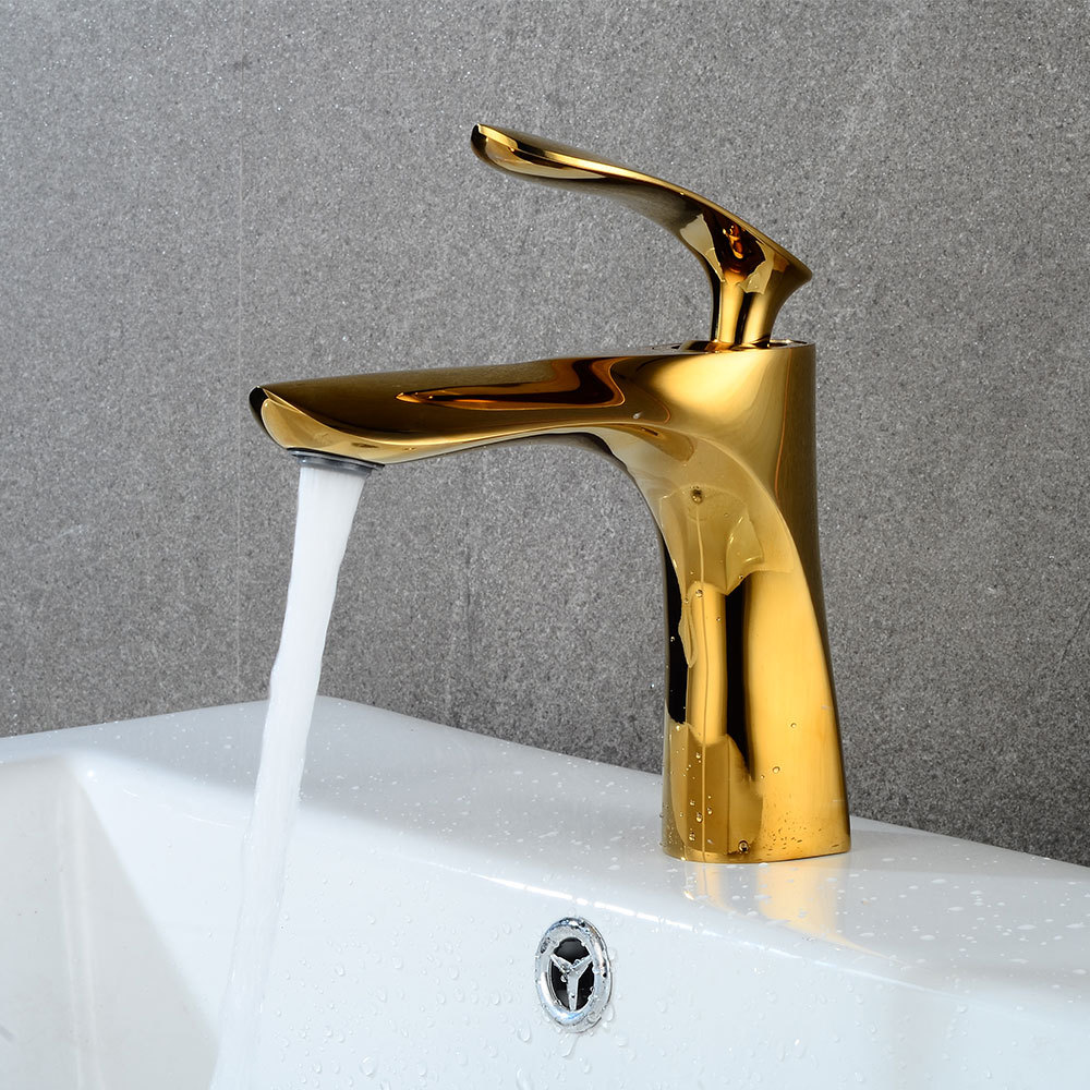 Bathroom Faucet Golden Lavatory Taps Single Handle Hot Cold Switch Water Mixer Tap Wash Basin Bathroom Deck Mounted Basin Faucet donyummyjo luxury bathroom basin faucet brass golden polish swan shape single handle hot