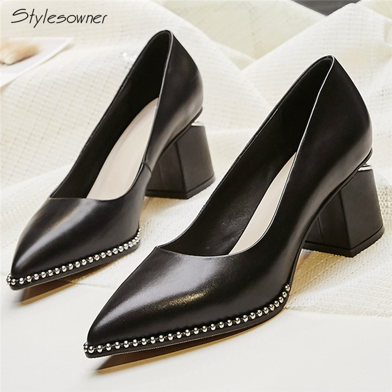 Stylesowner Slip On Sexy Name Brand Heels Pumps Thick Heels Metal Chains High Heel Shoes Pointed Toe Women Shallow ShoesFor Lady new stylish designer lady high heels shoes pointed toe concise slip on office career shoes woman string metal bead shoe edge