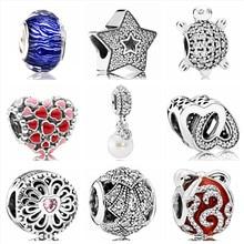 0d9fcd7cb7bb Btuamb lujo estrella amor corazón flor cristal simulado perla colgante  cuentas Fit Charm Pandora pulsera DIY hacer joyería regal.