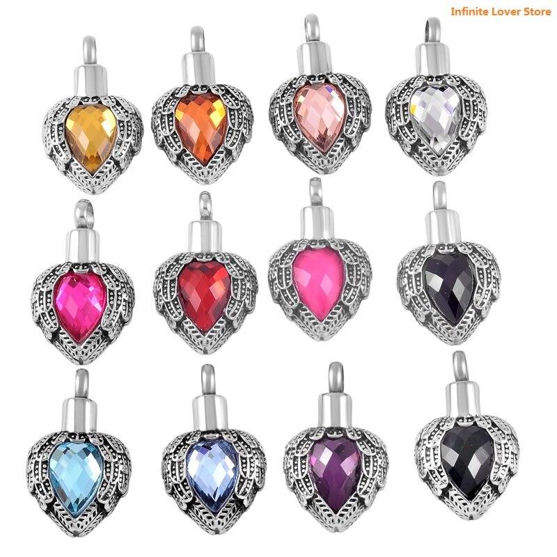 KLH8719-9 en gros pas cher prix!! incrustation 12 couleur pierre de naissance ange plume coeur crémation urne bijoux pour proche cendres