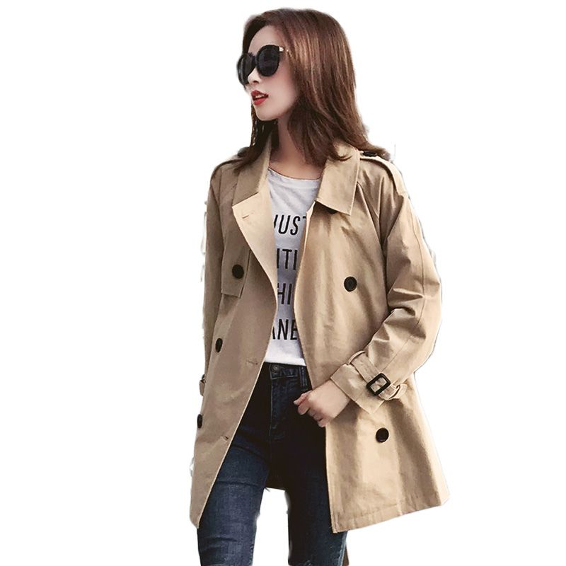 2019 Spring Autumn Fashion Women   Trench   Coats Female Korean Loose Casual Windbreaker Coats Ladies Double-Breasted Outerwear M207
