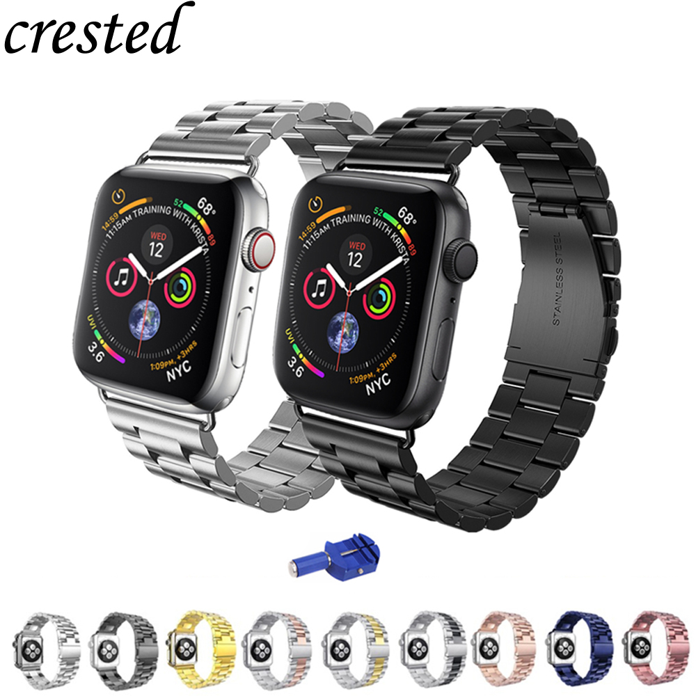 Stainless steel strap for <font><b>apple</b></font> <font><b>watch</b></font> bands <font><b>correa</b></font> aplle <font><b>watch</b></font> <font><b>42mm</b></font> 38mm 44mm 40mm iwatch series 4 <font><b>3</b></font> 2 1 Link bracelet Watchband image