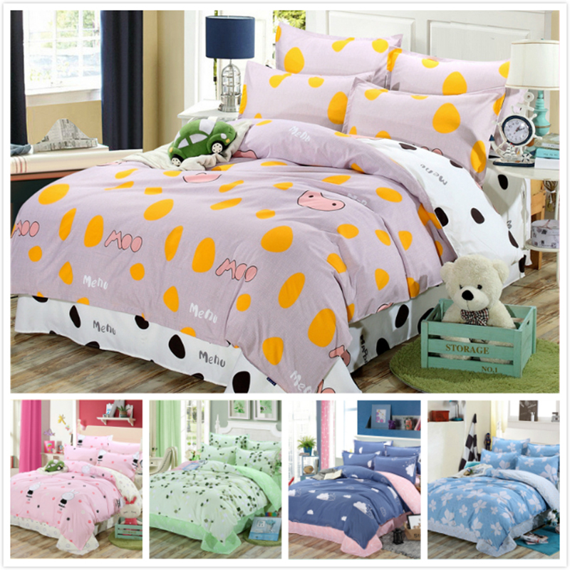 Cow White Orange Color AB Side Cotton Bedlinens 150x200 160x200 180x220 Quilt Case Kids Boys Girls Single Twin Size Bedding Bag