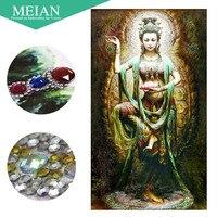 Meian 5D Diamond Painting Partial Round Drill Cross Stitch Diamond Embroidery Buddhism Goddess 3D Diamond Decoration Christmas
