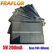 10 개/몫 도매 DIY 1W 5V 200mA 솔라 패널 셀 충전기 태양 전지 모듈 충전 3.6V 배터리 또는 리튬 이온 Battry 110*80mm