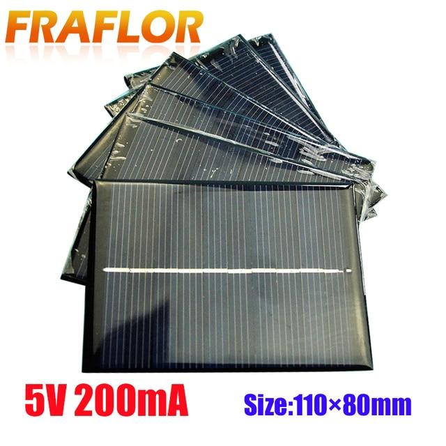 10ชิ้น/ล็อตขายส่งDIY 1W 5V 200mA Solar Panel Chargerพลังงานแสงอาทิตย์โมดูลชาร์จสำหรับ3.6Vแบตเตอรี่หรือLi Ion Battry 110*80มม.