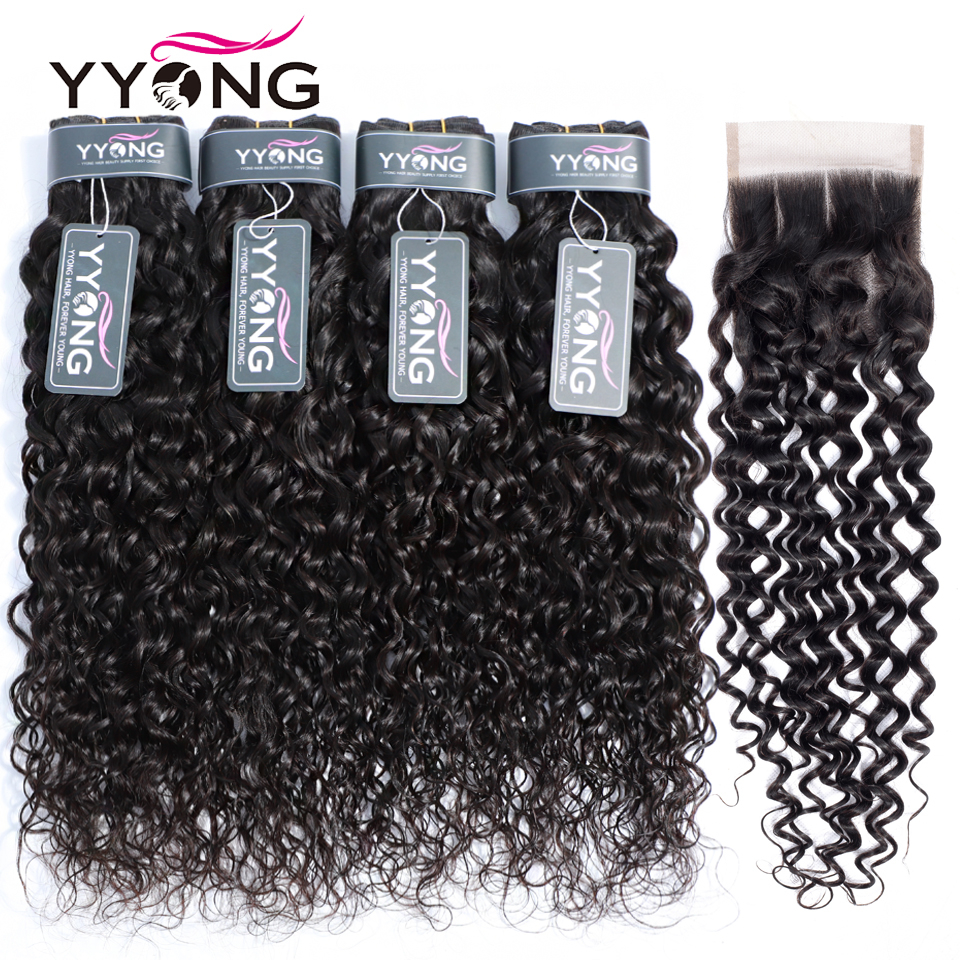 Yyong 3/4 Water Wave Bundles With Closure Brazilian Hair Weave Bundles With Closure Human Hair Bundles With Closure Non Remy