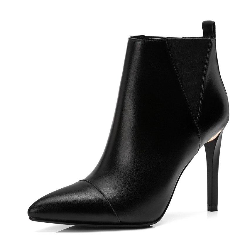 Fedonas Femelle Hiver À Chaussures Courtes Talons Véritable Marque Haute Bottes Hauts 1 En Femme Automne Chelsea Cuir 2 De Femmes r86xwq7r