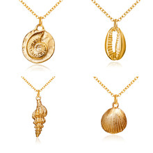 2019 Boho Conch Shell สร้อยคอ Conch Sea Shell สร้อยคอจี้สำหรับผู้หญิง Collier Femme Cowrie (China)