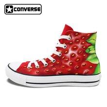 Ручная роспись обувь клубника Converse Chuck Taylor пользовательские Дизайн высокие холщовые кроссовки уникальные подарки Для мужчин Для женщин