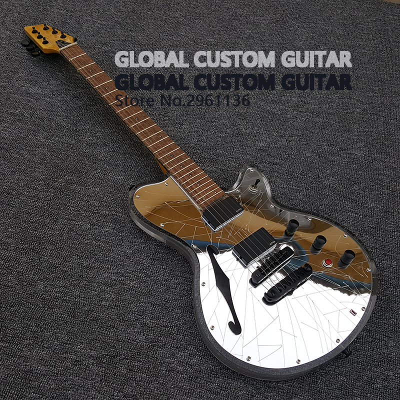 new acrylic electric guitar white transparent pickguard acrylic body fingerboard with led. Black Bedroom Furniture Sets. Home Design Ideas