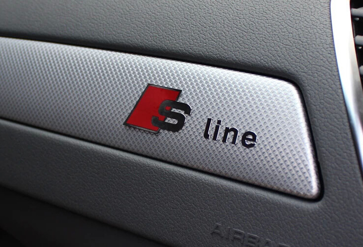 us $22.85 |car interior s line logo emblem center console toolbox  decorative sticker 3d metal stickers for audi a1 a3 a4 a6 q3 q5 s3 s6 on